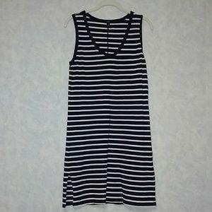 J Crew navy striped cotton tank dress size small